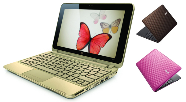 Fancy netbooks - HP 210 Vivienne Tam (left) and Asus 1008P Karim Rashid (right)
