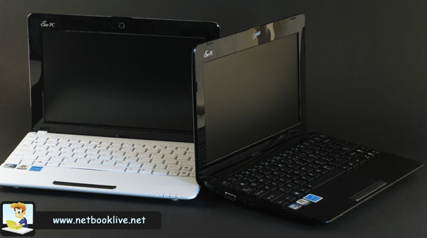 Top Asus EEE PC 1015PX (white) vs entry level Asus EEE PC 1011PX (black)