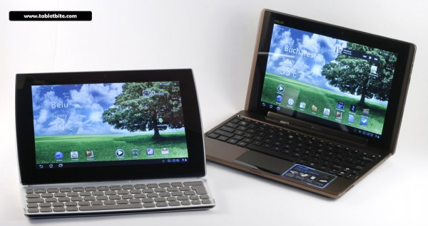 Asus EEE Pad Slider (left) and the EEE Pad Transformer (right)