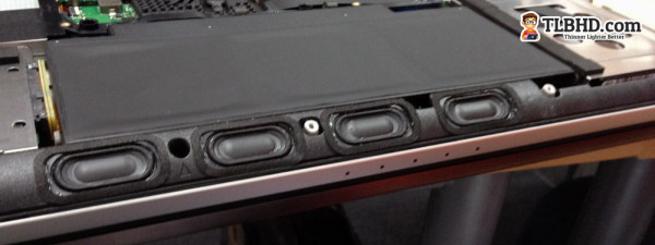 The speakers are smaller and they were moved towards the front of the laptop